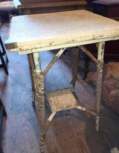 "ANTIQUE WICKER PLANT STAND/TABLE 29"" TALL, TOP 18"", BOTTOM SHELF 7.5"""