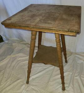 "ANTIQUE WOODEN TABLE W/ BOTTOM SHELF. 29"" TALL, TOP 20"", BOTTOM SHELF 11""."