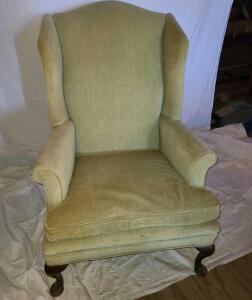 "ANTIQUE WINGED BACK CHAIR VELVET. BACK 42"" TALL X 29"" WIDE X 33"" DEEP."