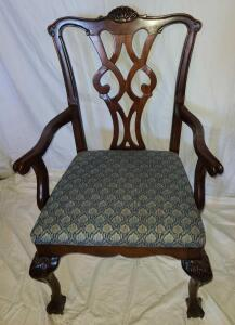 "ANTIQUE ARM CHAIR. VERY STURDY. SEAT BACK 40"" X 23"" WIDE X 20"" DEEP."