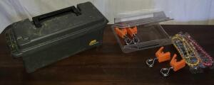 "LINER LOCKS ""NEW"" AND PLANO PLASTIC TOOLBOX AMMO BOX STYLE. BOX 6"" X 13"" X 5""."