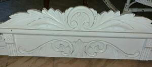 "ANTIQUE CARVED WOOD DOORWAY HEADER PAINTED WHITE 64"" WIDE X 15"" TALL"