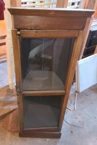 "ANTIQUE CORNER CABINET. DOOR IN NEED OF REPAIR WILL NOT CLOSE. 40"" TALL X 13.5"" WIDE X 12"" DEEP."