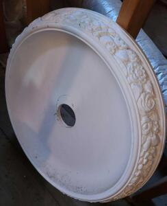 "CARVED WOODEN CEILING MEDALLION 27"" DIAMETER. PAINTED WHITE"