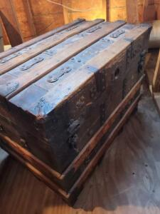 "WONDERFUL ANTIQUE CHEST 22"" TALL X 28"" WIDE X 16"" DEEP (FRONT TO BACK). STILL HAS TOP TRAY DIVIDER."