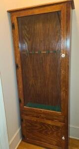 "HANDMADE GUN CABINET 75"" TALL X 27"" WIDE X 12"" DEEP. GLASS FRONT. STORAGE IN BOTTOM"