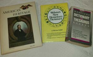 BOOKS: AMERICAN HERITAGE VOL 3, 4, & 5. WEBSTER DICTIONARY. WEBSTER DICTIONARY AND THESAURUS