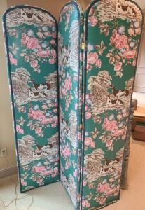 "ROOM DIVIDER SCREEN. GOOD CONDITION. TRIFOLD. 72"" TALL X 54"" WIDE. HAS HANGERS TO HANG ON WALL IF DESIRED."