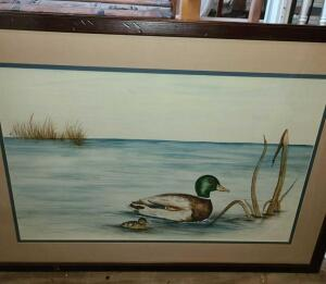 "2 FRAMED ART PIECES. DUCKS ON WATER, 26"" x 36 "". BIRD DOG WITH PHEASANT 29"" x 24.5"""