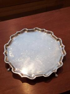 "16"" simple and elegant silver plated footed tray."