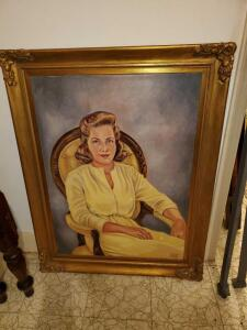 Large antique oil painting. eleanor king salley, artist. 33 x 43""