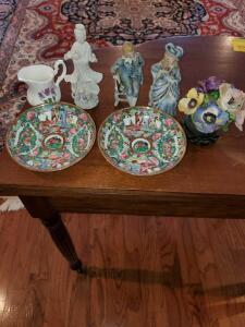 Two decorative items. Staffordshire bone china flowers, Guanyin figurine, victorian figurines, asian influence plates, and more