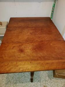 Antique drop leaf table. 44 x 60.5 when fully opened.