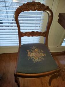 "Antique chair with needlepoint seat. 18""w x 17""d x 31"" tall. Seat height is 18""."