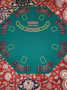 "Portable poker and blackjack table top. 47"" Octagon shape. Includes carry bag."