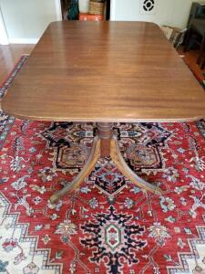 "Antique Tomlinson Duncan Phyfe style dining table. 40w x 62.5"" long."