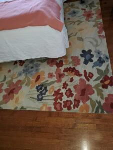 """Blithe floral wheat' wool area rug. 8' x 10'"