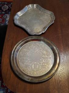 Two silver plate trays. 13""
