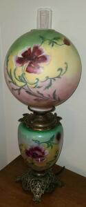 "ANTIQUE HANDPAINTED LAMP 31"" TALL GLOBE 12"" DIAMETER. ELECTRIC BUT DESIGNED LIKE OLD OIL LAMPS."