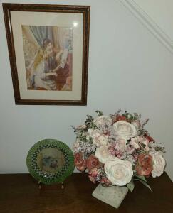 "DECOR ITEMS. PICTURE 13"" X 12"". PLATE 8.25"" DIAMETER. FLOWERS AND VASE 16"" TALL WITH 5"" BASE"