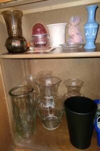 "LEFT SIDE OF ENTRY CABINET VASES AND MORE. SEE PICTURES. LARGE VASES ARE 9"" TO 11"""