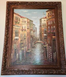 "HUGE FRAMED OIL PAINTING OF VENICE. EXQUISITE!!! 61"" x 49"""