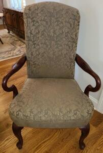 "ANTIQUE CHAIR LOVELY DARK CHERRY WOOD SEATBACK 43"" X 25"" WIDE X 27"" DEEP. NO SIGNS OF WEAR."