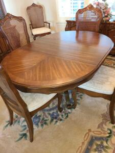 "CHERRY DINING TABLE W 6 CHAIRS (2 HAVE ARMS). J.B. VAN SEVIER CO. 28"" TALL. HAS 2 LEAVES & TABLE MAT"