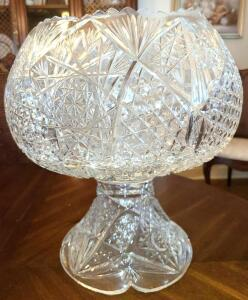 "CIRCA 1890 CUT GLASS PUNCH BOWL 14"" TALL X 13"" WIDE 9"" BASE. PAID $1895.00. NO CHIPS OR CRACKS"