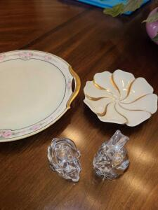 "2 CRYSTAL RABBITS 2"". HAVILAND CHINA FLORAL DISH 5"". BAVARIAN CHINA DISH WITH ROSES 9""."