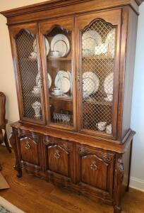 "CHERRY CHINA CABINET AND HUTCH. 78"" TALL X 56"" WIDE X 20"" DEEP. BASE IS 30"" TALL."