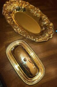 "GOLDPLATED BUTTER DISH WITH GLASS INSERT 3"" X 8"" X 5"". ORNATE GOLDPLATED TRAY 12"" X 7"""