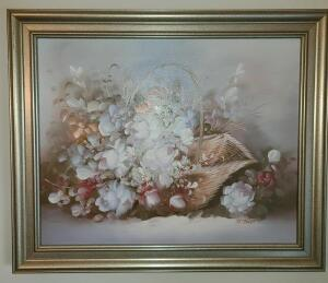 "FRAMED FLORAL OIL PAINTING 19.5"" 23.5"""