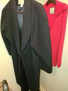 LADIES BLACK WOOL 3/4 LENGTH COAT AND RED SWEATER