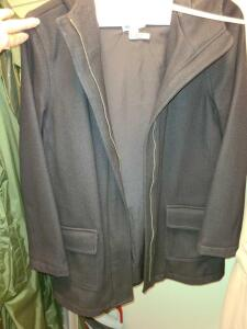 LADIES WOOL BLACK OLD NAVY JACKET WITH HOOD. JUST CLEANED AT CLEANERS