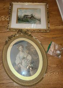 "2 ANTIQUE FRAMED PICTURES. NEED REPAIR. PIECES IN BAG. OVAL 24"" x 19.75 "". SQUARE 22"" x 19"""