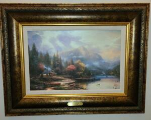 "FRAMED THOMAS KINKADE PRINT "" END OF A PERFECT DAY III"" 20.75"" X 27"""