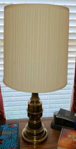 "PAIR OF BRASS LAMPS WITH SHADES 31"" TALL, SHADE 13"" DIAMETER."