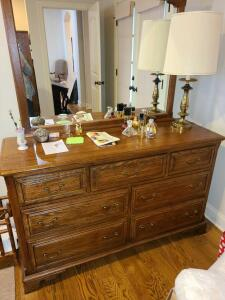 "7 DRAWER KNOB CREEK WOODEN DRESSER WITH MIRROR. DRESSER 35"" TALL X 58"" WIDE X 20"" DEEP."