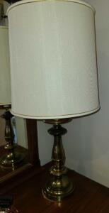 "BRASS LAMP 30"" TALL, SHADE 12"" DIAMETER"