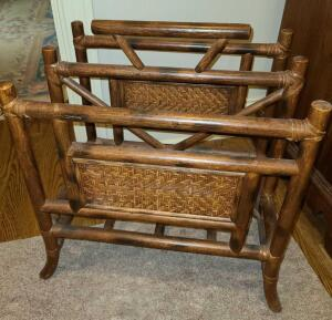 "WOOD AND RATTAN MAGAZINE RACK 18.25"" TALL X 18"" WIDE X 12.5"" ACROSS. EXCELLENT CONDITION"