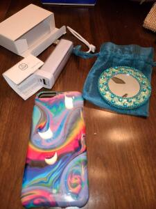 POWERPACK FOR PHONE, IPHONE CASE, JEWELED MIRROR WITH SATIN BAG