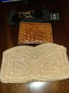PEARL BEAD CLUTCH, OSTRICH WALLET, GENUINE SOFTWARE SUNGLASSES