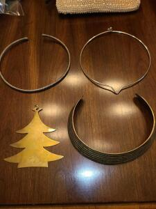 3 CHOKERS AND BRASS CHRISTMAS TREE PENDANT 4""