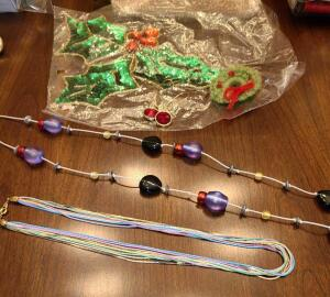 "JEWELRY LOT 28"" BEADED NECKLACE, MULTI STRAND 17"" NECKLACE, HANDMADE WREATH PIN,"