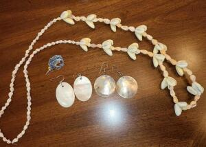"SEA THEME JEWELRY: 2 SHELL EARRINGS, A MARLIN PIN, 32"" SHELL NECKLACE"