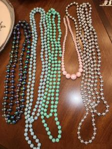 "BEADED NECKLACE LOT 14"" TO 56"". MANY CAN BE DOUBLED (SHOWN DOUBLED)"