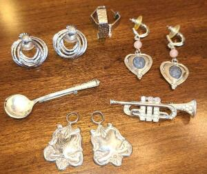 STERLING SILVER SPOON PIN, STERLING SILVER SPOON END PENDANTS 2, TRUMPET BROOCH,