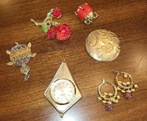 JEWELRY LOT: LADYBUG PIN, ROSE PIN, SHEFFIELD WATCH PENDANT, TURTLE PENDANT,