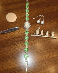 GENEVA WATCH WITH BEADS, PENGUIN PIN, EARRINGS AND 2 SILVER PINS